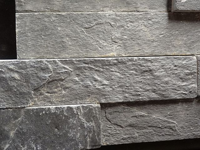 Gray Slate Stacked Tile Cherry City Interiors And Design